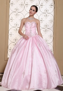 Sweet Baby Pink 2015 Quinceanera Dress In California Sweetheart Beaded Decorate Bust