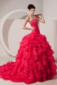 Unique Coral Red A-line / Princess Prom Dress Sweetheart Brush Train Taffeta Beading