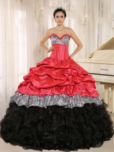 Watermelon and Black Sweetheart Ruffles Zebra Quinceanera Dress With Floor-length