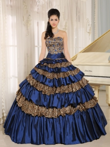 Navy Blue Leopard Ruffled Layers and Appliques With Beading Quinceanera Dress For Custom Made Hilo City Hawaii