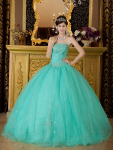 Affordable Turquoise Quinceanera Dress Strapless Organza Beading Ball Gown