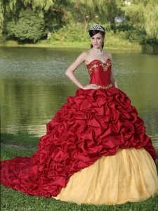 Appliques and Pick-ups Wine Red Brush Train Exquisite Style For 2015 Quinceanera Dress