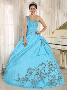 Baby Blue Quinceanera Dress One Shoulder With Appliques and Beading 2013