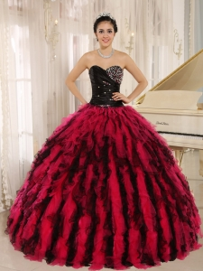 Beaded and Ruffled Sweetheart For Black and Hot Pink Quinceanera Dress In Kihei City Hawaii
