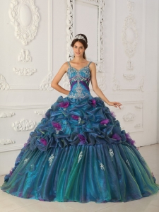 Classical Teal Quinceanera Dress Straps Chapel Train Organza Ball Gown