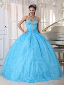 Lovely Baby Blue Quinceanera Dress Sweetheart Taffeta and Organza Appliques Ball Gown