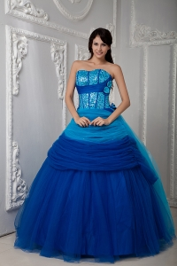 Pretty Blue A-line Quinceanea Dress Sweetheart Floor-length Tulle Ruch