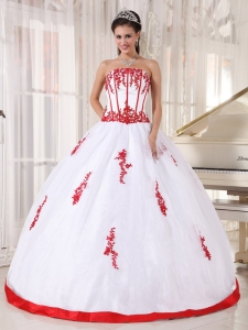 Pretty White Quinceanera Dress Strapless Satin and Organza Appliques Ball Gown