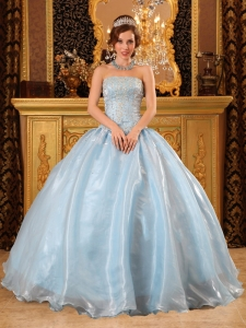 Romantic Light Blue Quinceanera Dress Strapless Organza Beading Ball Gown
