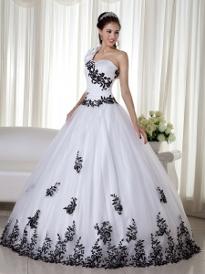 White A-line One Shoulder Floor-length Taffeta and Organza Embroidery Quinceanera Dress