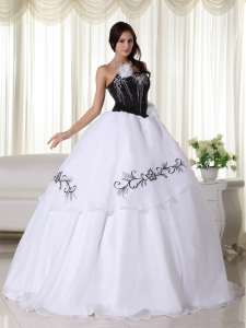 Black And White Ball Gown Strapless Floor-length Organza Embroidery Quinceanera Dress