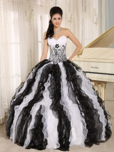 White and Black Ruffles Quinceanera Dress With Appliques Sweetheart For Custom Made In Honolulu City Hawaii
