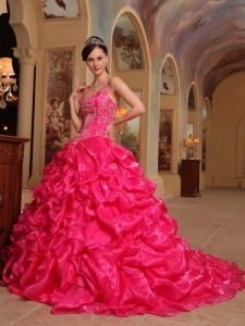 Beautiful Hot Pink Quinceanera Dress Spaghetti Straps Organza Embroidery Ball Gown