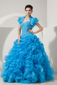 Beautiful Sky Blue A-line / Princess Prom Dress Sweetheart Floor-length Organza Beading