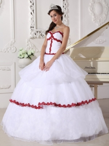 Best White and Wine Red Quinceanera Dress Sweetheart Organza Appliques Ball Gown