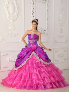 Classical Quinceanera Dress Strapless Organza and Taffeta Lace and Appliques Ball Gown
