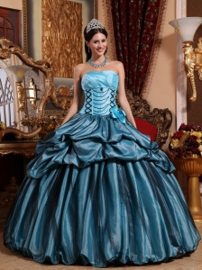 Quinceanera Dress Strapless Taffeta Hand Made Flower Ball Gown
