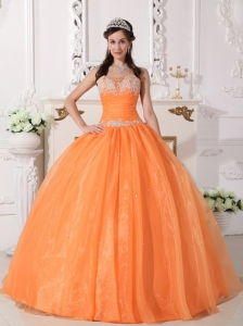 Cute Orange Quinceanera Dress Strapless Taffeta and Organza Appliques Ball Gown