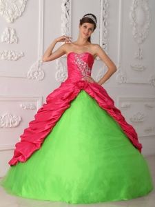 Cute Spring Green and Hot Pink Quinceanera Dress Sweetheart Taffeta Appliques and Ruch Ball Gown