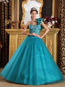 Elegant Teal Quinceanera Dress One Shoulder Tulle Beading A-Line / Princess