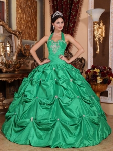 Exclusive Green Quinceanera Dress Halter Top Taffeta Appliques Ball Gown