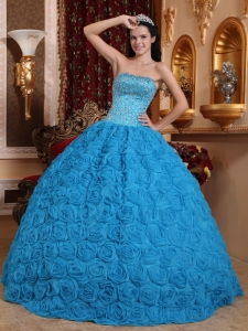 Gorgeous Blue Quinceanera Dress Ball Gown Strapless Fabric With Rolling Flowers Beading Ball Gown