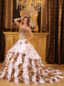 Gorgeous White Quinceanera Dress Strapless Brush Train Taffeta and Leopard Ball Gown