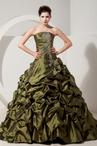 Olive Green A-line / Princess Strapless Sweet 16 Dress Brush Tain Taffeta Beading
