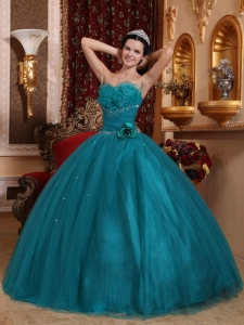 Pretty Teal Quinceanera Dress Sweetheart Tulle Beading Ball Gown