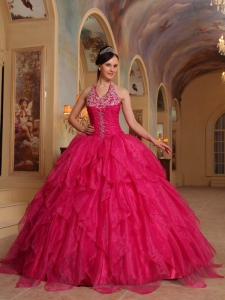 Romantic Hot Pink Quinceanera Dress Halter Organza Embroidery Ball Gown