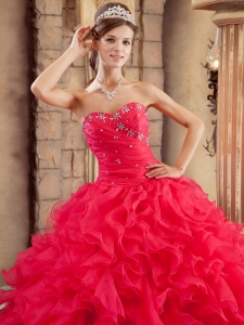 Ruffles Organza With Beading Design Coral Red Quinceanera Dress ...