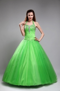Tulle Beading Quinceanera Dress 2013 Halter Design Spring Green