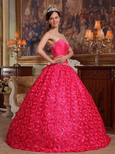 Wonderful Coral Red Quinceanera Dress Strapless Fabric With Rolling Flowers Appliques Ball Gown