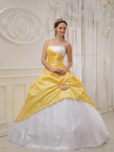 Yellow Ball Gown Strapless Floor-length Taffeta and Tulle Beading Quinceanera Dress