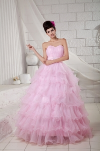 2015 Baby Pink Sweet 16 Dress Ball Gown Sweetheart Organza Beading Floor-length