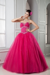 Hot Pink Sweet 16 Dress Ball Gown Sweetheart Tulle Beading Floor-length