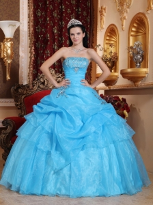 Chic Aqua Blue Quinceanera Dress Strapless Organza Beading Ball Gown