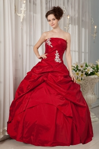 Custom Made Wine Red Ball Gown Quinceanera Dress Strapless Taffeta Appliques Floor-length