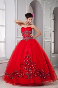 Exclusive Red Ball Gown Sweetheart Quinceanera Dress Tulle Beading Floor-length