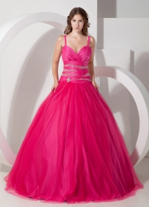 Hot Pink Ball Gown Spaghetti Straps Floor-length Tulle Beading Quinceanera Dress
