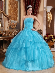 Impression Aqua Blue Quinceanera Dress Strapless Organza Beading Ball Gown