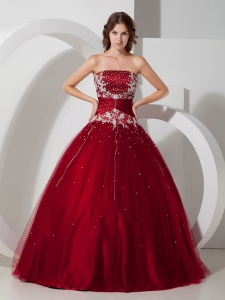 Impression Wine Red Quinceanera Dress Strapless Satin and Tulle Appliques and Beading