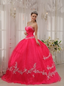Inexpensive Coral Red Quinceanera Dress Sweetheart Taffeta and Organza Appliques Ball Gown