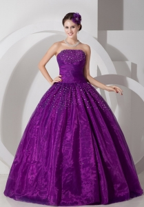 Lovely Purple A-line Strapless Quinceanera Dress Tulle Ruch and Beading Floor-length