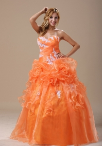 Michigan Appliques Decorate Up Bodice Orange With Hand Made Flowers Floor-length For 2013 Military Ball Gowns