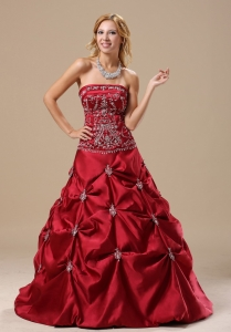 Mississippi Embroidery Decorate Bodice Pick-ups A-line Wine Red Floor-length 2013 Quinceanera Dress