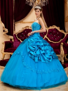 New Sky Blue Quinceanera Dress Strapless Taffeta and Tulle Lace Appliques Ball Gown