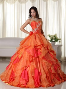 Orange Ball Gown Sweetheart Floor-length Organza Appliques Quinceanera Dress
