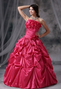 Panora Iowa Hand Made Flowers and Pick-ups Decorate Bodice Ruch Ball Gown Floor-length Coral Red Strapless Military Ball Gowns