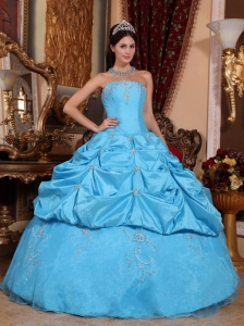 Perfect Aqua Blue Quinceanera Dress Strapless Taffeta and Organza Beading Ball Gown